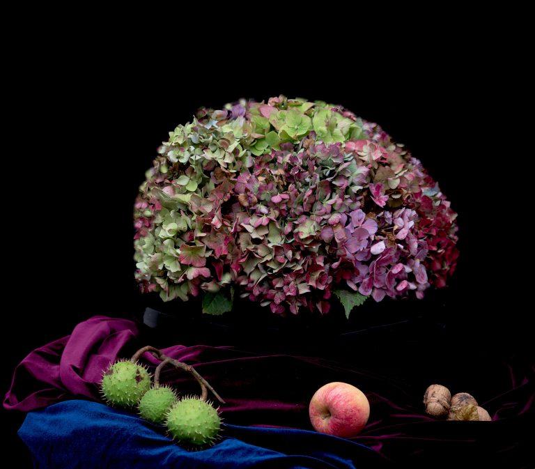 Stilleven Herfst met schaal met hortensia's, noten en kastanje in Barok style