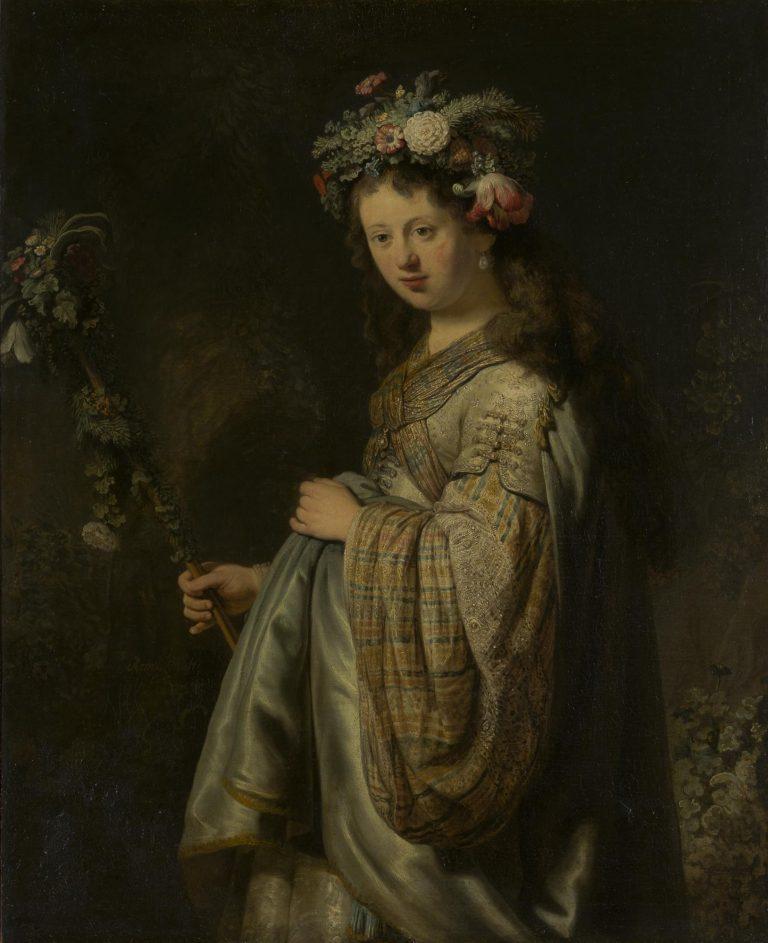 """Portret van """"Flora"""", Rembrandts vrouw Saskia, dat te zien was in de tentoonstelling Hollandse Meesters in museum de Hermitage in Amsterdam"""
