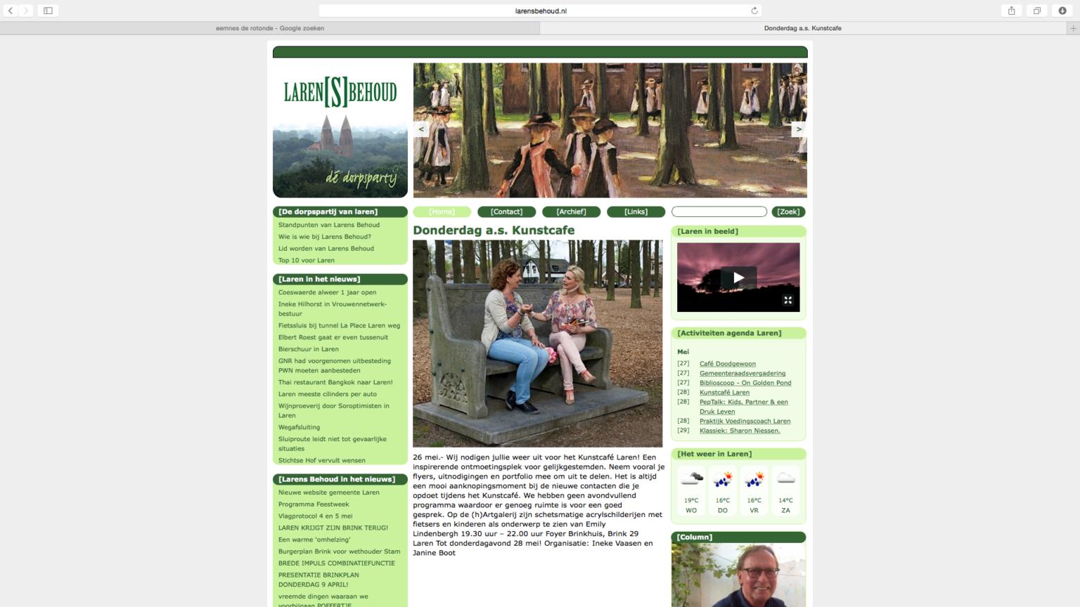 Ineke Vaasen bij de oprichting van het Kunstcafe in Laren met Janine