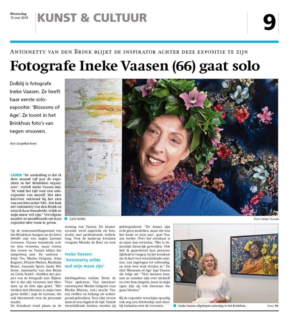 Artikel over de expositie van fotografe Ineke Vaasen van de Blossoms of Age